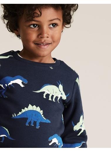 Marks & Spencer Organik Pamuklu Desenli Sweatshirt Lacivert